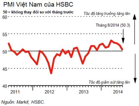 PMI tháng 8 giảm xuống mức 50,3 điểm